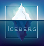 Iceberg on Blue Background with White Frame.