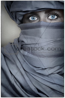 Beautiful Blue Eyed Woman Female Wearing a Veil
