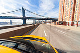 New York City Yellow Taxi Cab by Manhattan Bridge