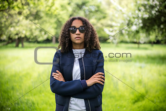 Thoughtful Mixed Race African American Teenager Woman