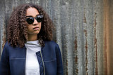 Sad Mixed Race African American Teenager Woman In Sunglasses