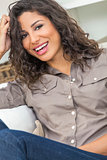 Hispanic Woman Laughing With Perfect Teeth