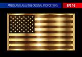 Gold American flag in a metallic frame