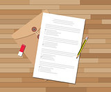 paper test document with checklist and pencil eraser vector graphic
