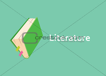 literature books with green cover style with text on side vector graphic