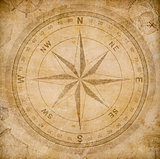 old wind or compass rose on vintage paper