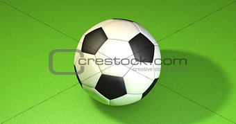 Football ball on the green. 3D illustration
