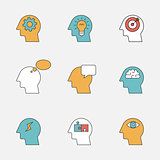 Human thinking process color line icons