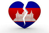 Broken white heart shape with Cambodia flag