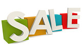 Colorful cube with sale word