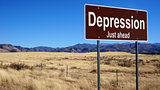 Depression brown road sign