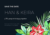 Wedding invitaion or card design with exotic tropical flowers and leaves