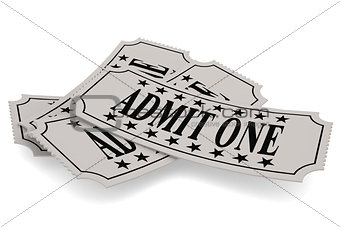 Ticket paper with admit one word