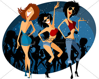 Three girls on party