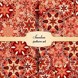 Mandala seamless patterns set. Islam, Arabic, Indian, ottoman motifs.
