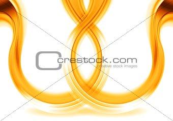 Bright orange shiny waves on white background