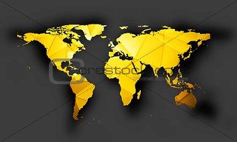Bright orange polygonal world map with shadow