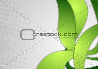 Bright green wavy grunge background