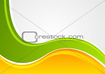 Bright green and orange wavy corporate background