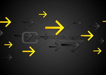 Abstract tech dark black background with arrows