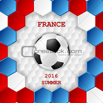 Bright soccer background with ball. French colors