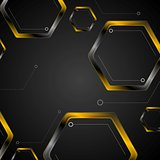 Dark tech background with black orange hexagons