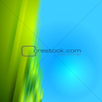 Green blurred stripes on blue bright background