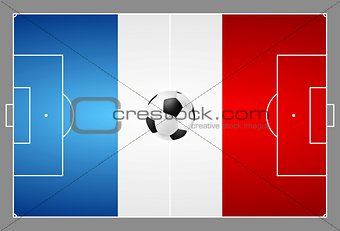 Bright soccer background with ball. French colors football field