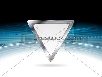 Bright blue technology background with triangle