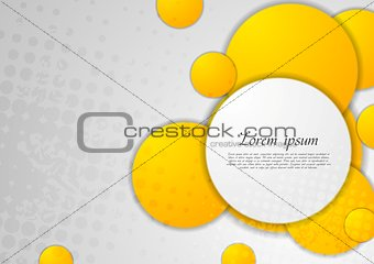 Abstract grey grunge background with orange circles