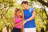 Young Couple Sports Training Fitness Fitwatch Steps Counter