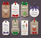 Set of vintage tags with silk bows
