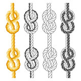 Rope knots and loops in different styles