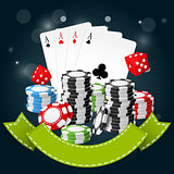 Gambling and casino poster - poker chips, playing cards and dice