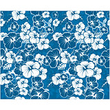 Blue floral seamless Hawaiian background with hibiscus flowers