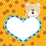 Teddy bear with heart on honeycomb background