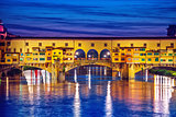 Late sunset at bridge Ponte Vecchio in Florence
