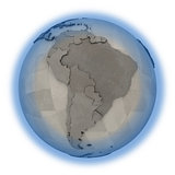South America on metallic planet Earth