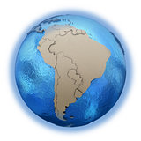 South America on model of planet Earth