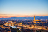 Evening sunset over Florence with Ponte Vecchio bridge