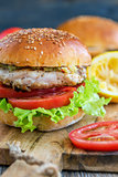 Tasty burger with chicken, tomato and spicy sauce.