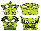 halloween green scary zombie head illustration