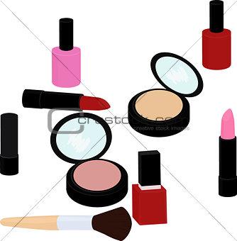 beauty products set, lipstick, nail polish, powder, blush