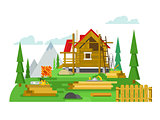 Cottage construction flat design