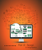 Business Solution and Idea Conceptual background with a desktop pc