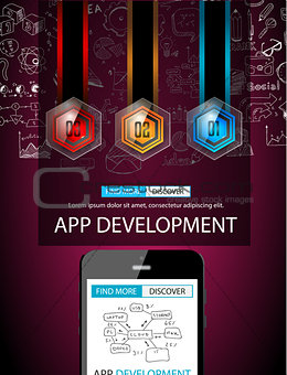 App Development Infpgraphic Concept Background with Doodle design style