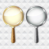 Pair of magnifying glasses on abstract background.