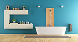 Blue contemporary bathroom