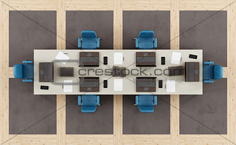 Top view of a modern boardroom