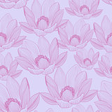 Cute seamless pattern with pink lotus flowers. Water lilies wallpapers